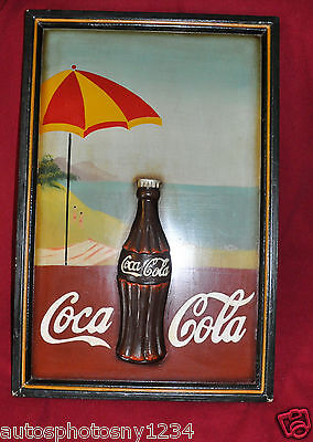 """Coca Cola Folk Art Hand Carved Bottle & Painted Sign 1970's 16""""x24"""" Unsigned 1/1"""