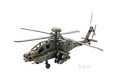"""Boeing AH-64 Apache Metal Desk Top Model 18"""" Attack Helicopter Aircraft Decor"""