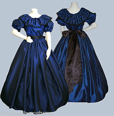 Ladies Victorian  or American Civil War 3pc costume fancy dress size 6-20 blue