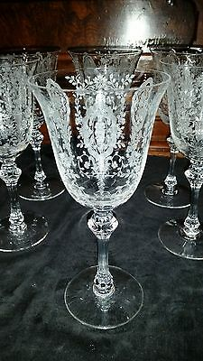 Tiffin Franciscan LOVE LACE (ETCHED) Set of 8 Water Wine Goblet Goblets perfect