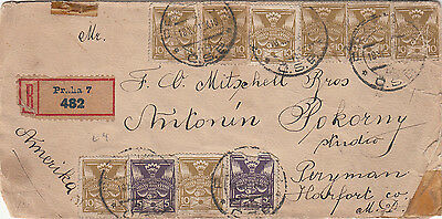 Stamps Czechoslovakia 1921 used on cover registered Prag to America backstamped