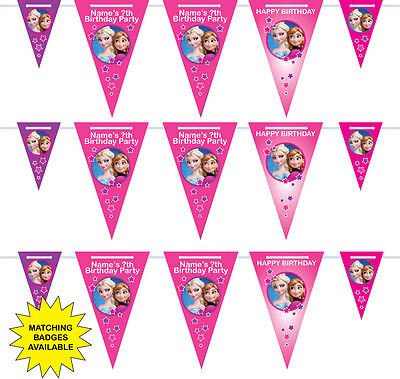 Personalised Frozen Birthday Bunting - 3m - 15 pendants, pink, purple - name/age