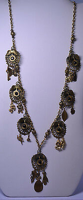 """ARTISAN HANDCRAFTED 31"""" LONG NECKLACE W/ VINTAGE FINDINGS CHARMS FILIGREE BALLS"""