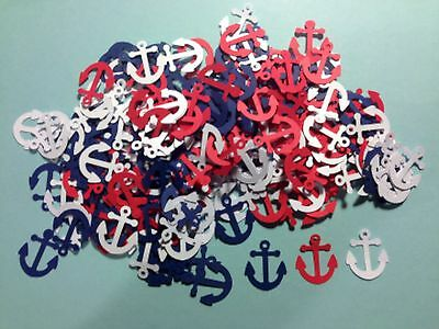 Nautical Anchors Die cuts LOT OF 100 PCS RED, BLUE & WHITE 2' H Scrapbooking