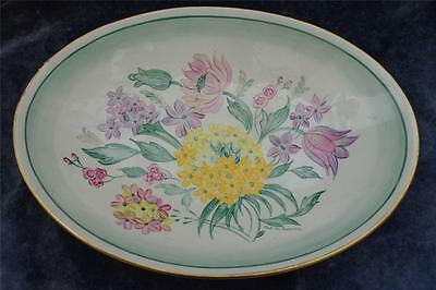 Vintage Art Deco Gray's Pottery Hand Painted Flowers Dish Bowl Signed W V Evans