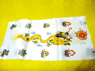 Tibetan Buddhist Hada Dragon Khata Good Luck Scarf - White