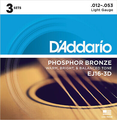 D'Addario EJ16 Phosphor Bronze Acoustic Guitar 12-53, 3 Sets  - New