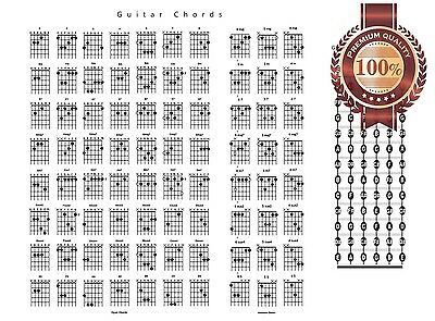 New Guitar Chords Chord Chart Notes Guide Help Learn Study Print Premium Poster