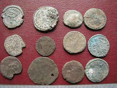 Lot of 12 Authentic Ancient Roman Coins   Mostly 3rd to 5th Centuries A.D. 12298