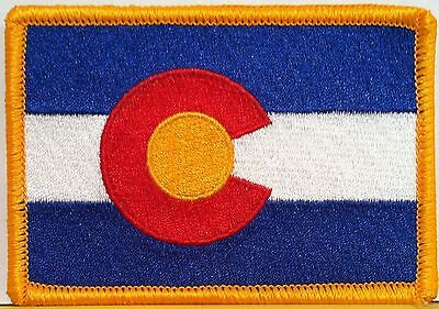 Colorado State Flag Embroidery Iron-On Patch Biker Emblem Gold Merrow  Border