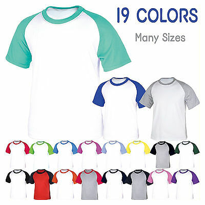 Mens Womens Raglan Baseball Short Sleeve T-Shirt Sport Health Team Uniform Tee