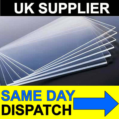 2mm Clear Acrylic Sheet 152 x 102 6x4 Perspex Safety Glazing Frame Plastic Sheet