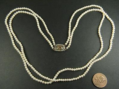 ANTIQUE ENGLISH DOUBLE STRAND PEARL NECKLACE w/ 9K GOLD GEORGIAN LOCKET CLASP