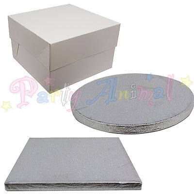 Pack of 5 - Cake Drum Boards and White Boxes - Quality Wedding & Sugarcraft