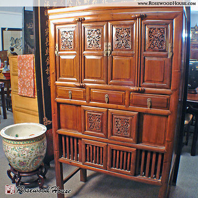 Genuine Antique Asian Cabinet Carved Floral Chest Drawer Handmade Solid Elm Wood