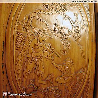 Chinese Antique Narrative Cabinet, Elaborate Carvings In Solid Cypress Wood