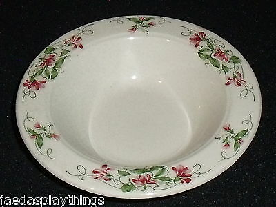 "Homer Laughlin Bowl PINK VIOLETS Rimmed Dessert Sauce Fruit 5.5"" FREE US Ship"