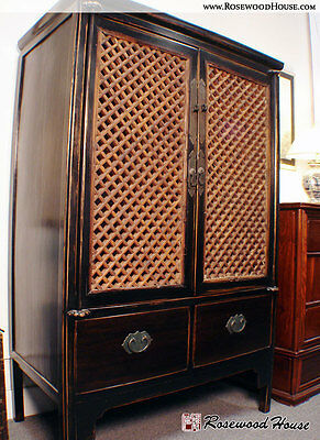 Lattice Pocket Door Armoire, Refitted For Modern Use, Made With Solid Elm Wood