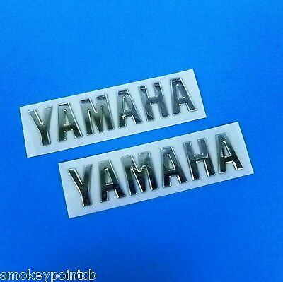 New Set of Chrome Yamaha Logo Emblems Cafe Bobber Custom Tank Badges E0248 E0248