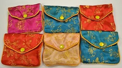 "Silk Jewelry Chinese Pouch Bag Roll Assorted FOUR DOZEN Zipper - 3 1/2"" x 3"""