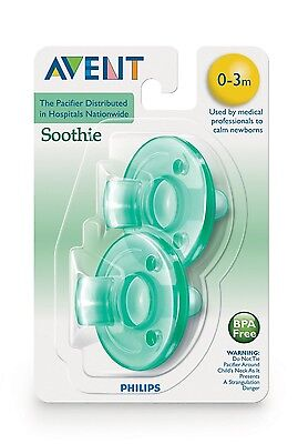 2 Pack. Philips Avent Soothie Pacifier, 0-3 Months. Green. New. FREE SHIPPING