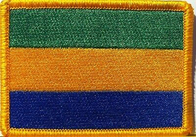 GABON Flag Embroidered Iron-On Patch  Military Emblem Gold Border