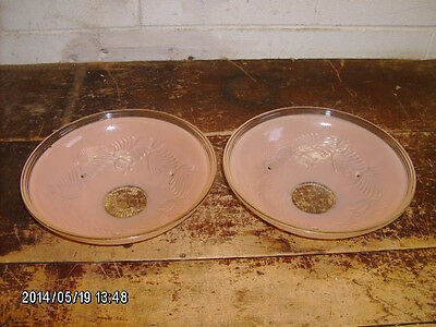 pr matching Deco antique pink glass ceiling fixtures -shades only
