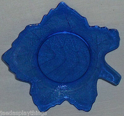 "LE Smith Mt Pleasant Cobalt Blue Leaf 8"" Glass Plate FREE US Shipping"