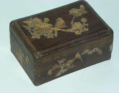 Rare Antique Chinese Zitan Wood Mother Pearl Inlay Bird Branch 18Th Qing Dynasty