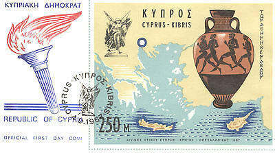 Cyprus 1967 Athletic Games Miniature Sheet On Fdc