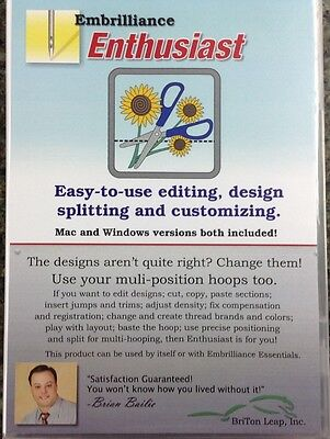 Embrilliance Enthusiast Embroidery Software for Win & Mac Editing Sizing + More