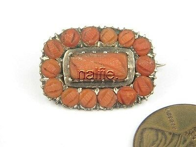ANTIQUE ENGLISH GEORGIAN PERIOD GOLD CARVED NATURAL CORAL BROOCH c1830