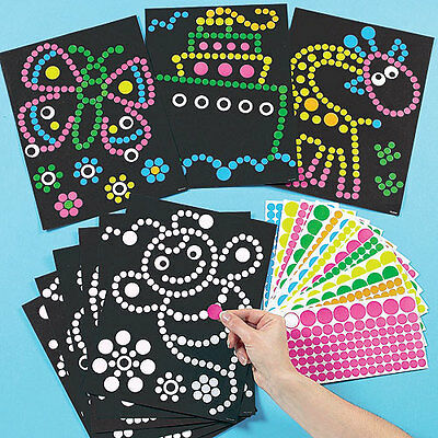 Dotty Sticker Art, 8 Different Design Sheets for Children to Create (Per pack)