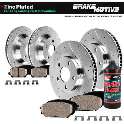 Front+Rear Drill Slot Brake Rotors Ceramic Pads For ES350 Toyota Avalon Camry