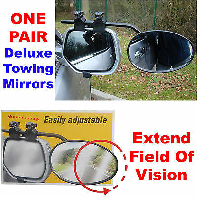 Pair 2x Twin Caravan Car Extension Deluxe Towing Safety Wing Side Mirrors MP8328