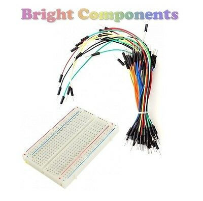 Solderless Prototype Breadboard (400 Points) + 65 Jumper Wires - Electronics