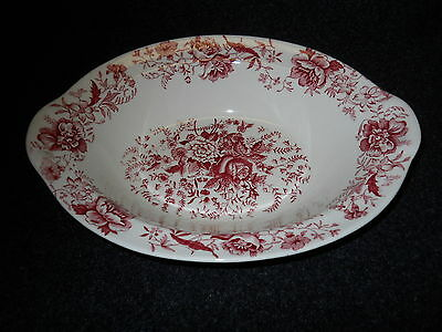 "Taylor Smith Taylor Red  Transfer TST610 Oval Serving bowl 9 1/2"" Center Bouquet"