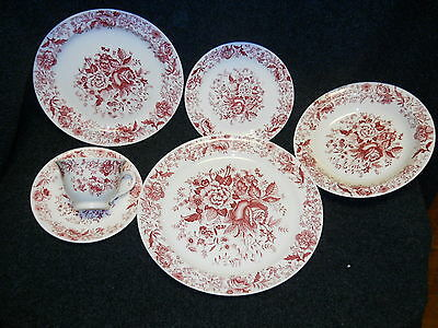 Taylor Smith Taylor Red  Transfer TST610 Place Setting 6 Piece Center Bouquet