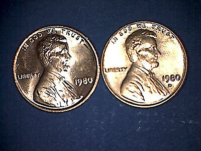 1980 P D Lincoln Memorial Cent Penny BU Brilliant Uncirculated Set From Rolls