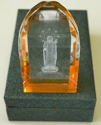 Beautiful Jizo Laser Picture in Yellow Cathedral Crystal, 110mm High, Gift Boxed