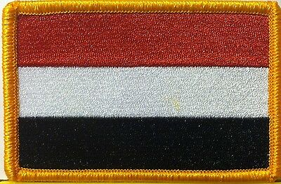 YEMEN FLAG EMBROIDERED  Iron-On Patch Military Tactical Emblem Gold Border