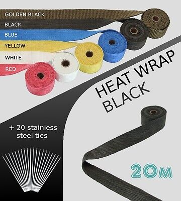 UNIVERSAL CAR BIKE EXHAUST HEAT WRAP with ties - 20 METRE - BLACK - 20M-B