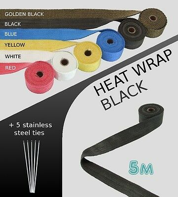 UNIVERSAL CAR & BIKE EXHAUST HEAT WRAP with ties - 5 METRE - BLACK - 5M-B