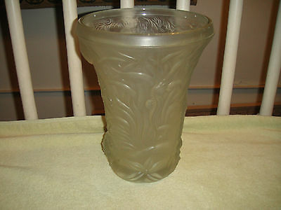 Vintage Barolac Frosted Glass Vase-Czech Bohemian-Underwater Sea Design-Starfish