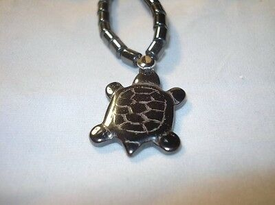 Hematite Drum Beads & Turtle Crystal Healing Gemstone Pendant Necklace