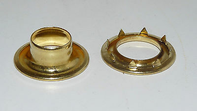 Pack 25  Stimpson USA Solid Brass #4 Rolled Rim Grommet with Spur Washer 9/16 id