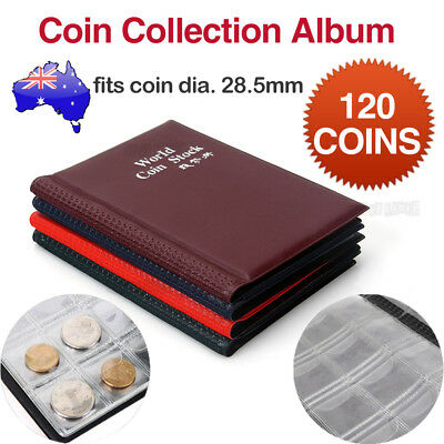 120 Coin Holder Money Storage Pockets Penny Collection Album Book Collecting AU