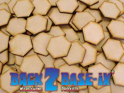 MDF Wood Base Disk HEX Shape 3mm Thick 10mm to 100mm Diameter