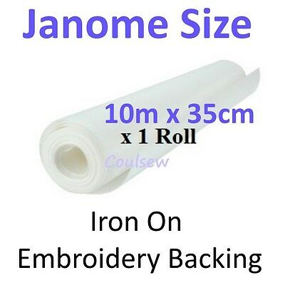 JANOME SIZE EMBROIDERY BACKING STABILISER 10m x 35cm IRON ON easy tear away