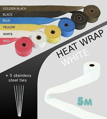 UNIVERSAL CAR BIKE EXHAUST HEAT WRAP with ties - 5 METRE - WHITE - 5M-WHI